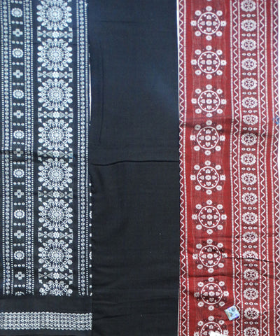 Beautiful Traditional Black Bean And Black tie And dye Cotton Bomkai Dress Material
