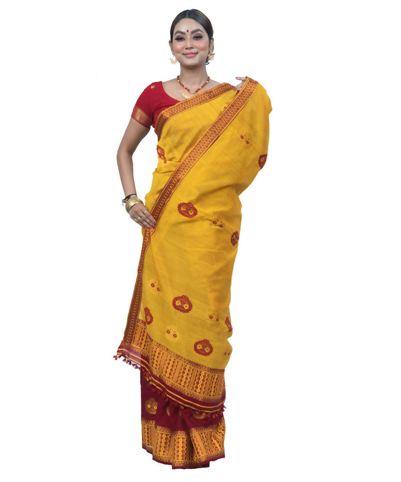 Yellow and maroon handwoven assam cotton mekhela chador