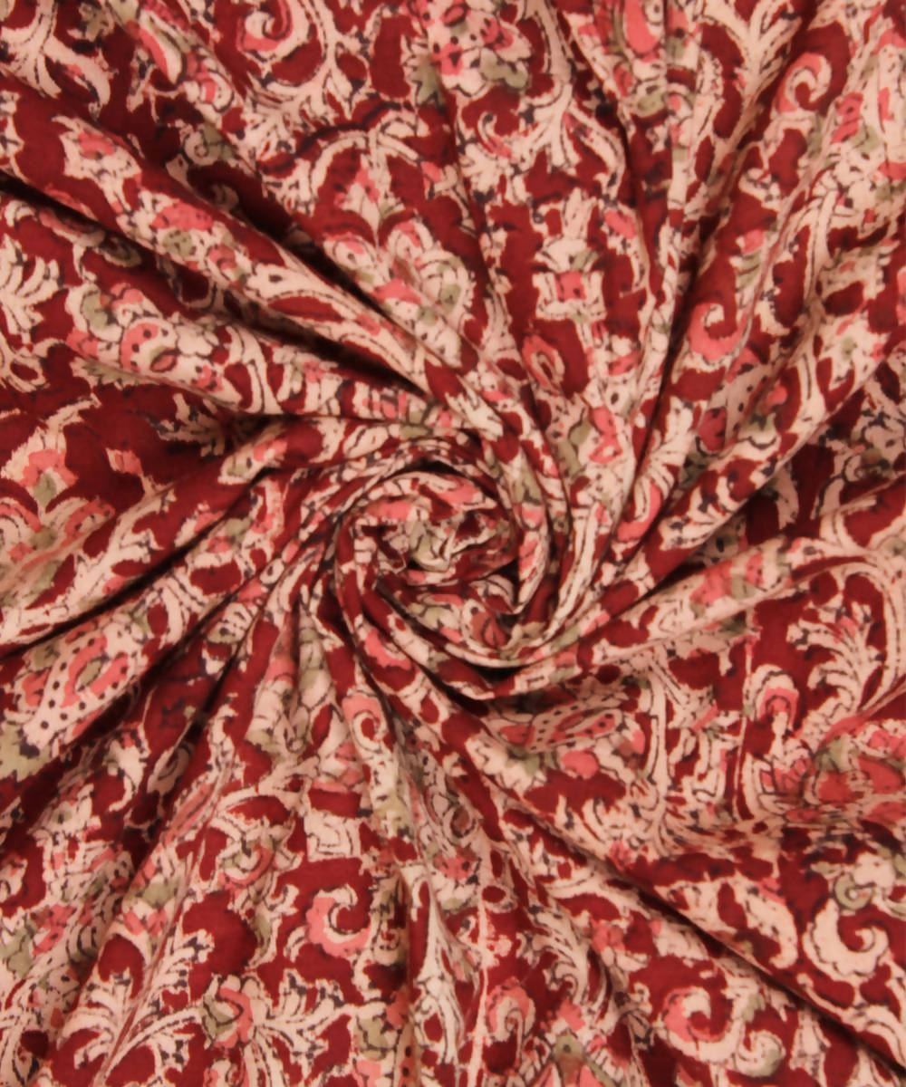 Red Handblock Print Kalamkari Cotton Fabric