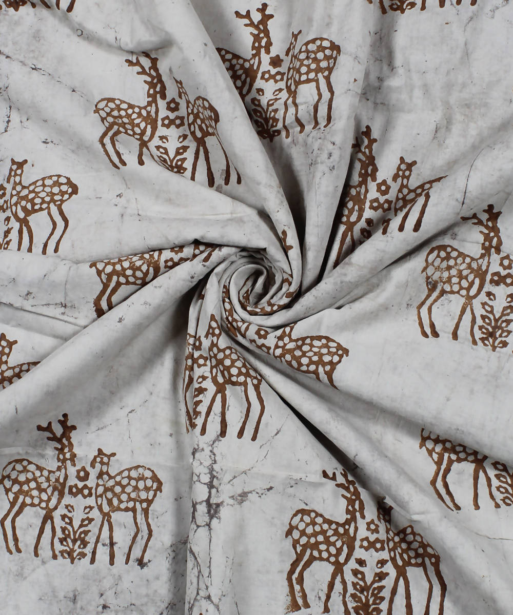 Off White Deer Motif Dabu Print Cotton Fabric