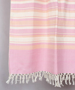 Off White with Pink Striped Handwoven Cotton Stole