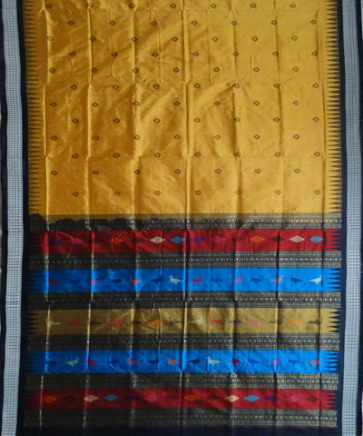 Mustard Yellow handwoven bomkai silk saree