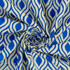 Handwoven blue block printed Lime yellow cotton fabric