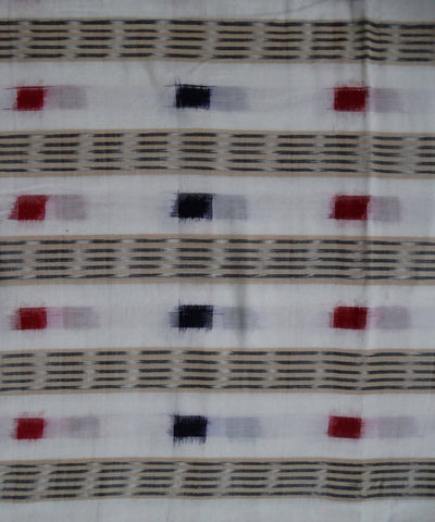 White Sambalpuri ikat Handwoven Cotton Fabric Material