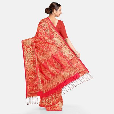 Biswa Bangla Handwoven Silk Saree - Red