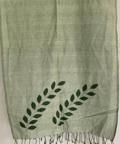 Light green cotton with hand crafted leaf motif stole