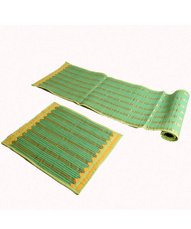 Green Mangalgiri Cotton Table mat and runner set