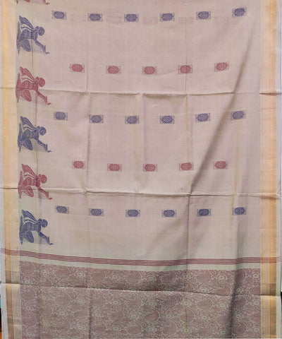 Light Grey Handwoven Cotton Jacquard Saree