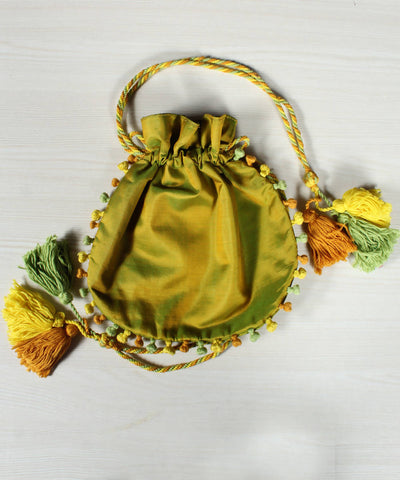 Green Lambani Hand Embroidery Cotton Silk Batwa Pouch