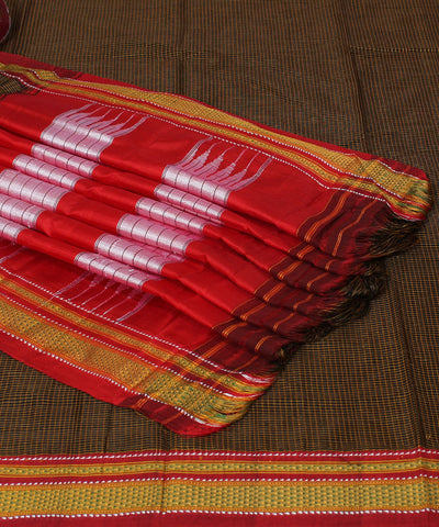 Ilkal ChikkiParas Brown Checks Handloom Saree