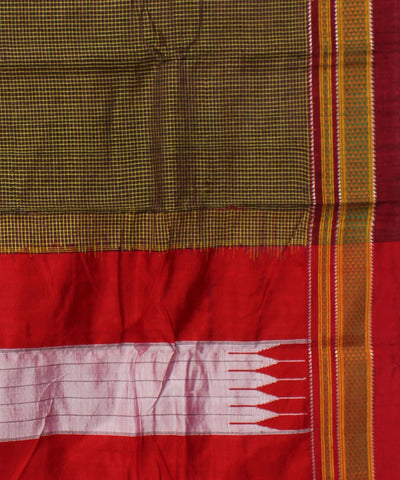 Ilkal ChikkiParas Checks Green Handloom Saree