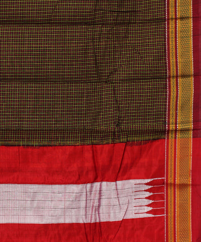 Ilkal ChikkiParas Checks Brown Handloom Saree