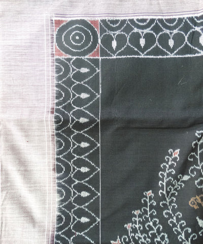 Black and Maroon Tribal Sambalpuri Cotton Double Bed Cover