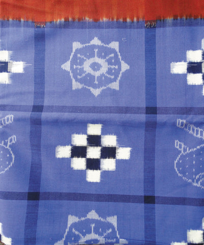 Brick and Copper SulphatePasapalli Sambalpuri Cotton Double Bed Cover