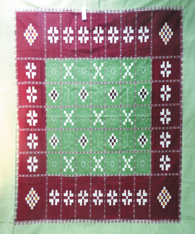 Green and Maroon Pasapalli Sambalpuri Cotton Double Bed Cover