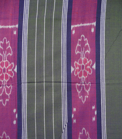 Unique Purple And Army Green Traditional Ikat Tie And Dye Double Bed Cover