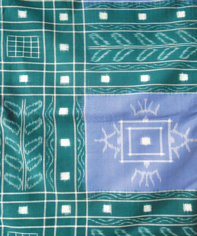 Green and Sirf Sambalpuri Cotton Double Bed Cover