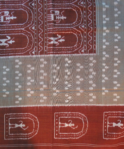Maroon And Cream Sambalpuri Cotton Double Bed Cover