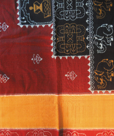 Maroon And Black Sambalpuri Cotton Double Bed Cover