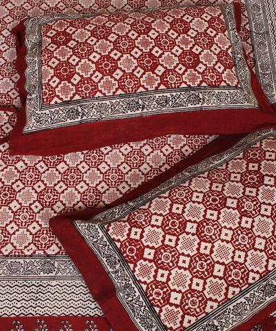 Red and White Bagh Printed Handwoven Cotton Bed Sheet