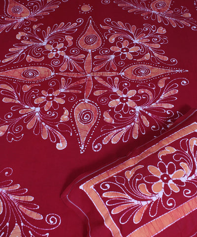 Batik Printed Handwoven Cotton Red Bed Sheet