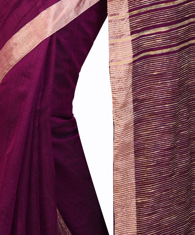 Bengal Handloom Wine Purple Sico Saree