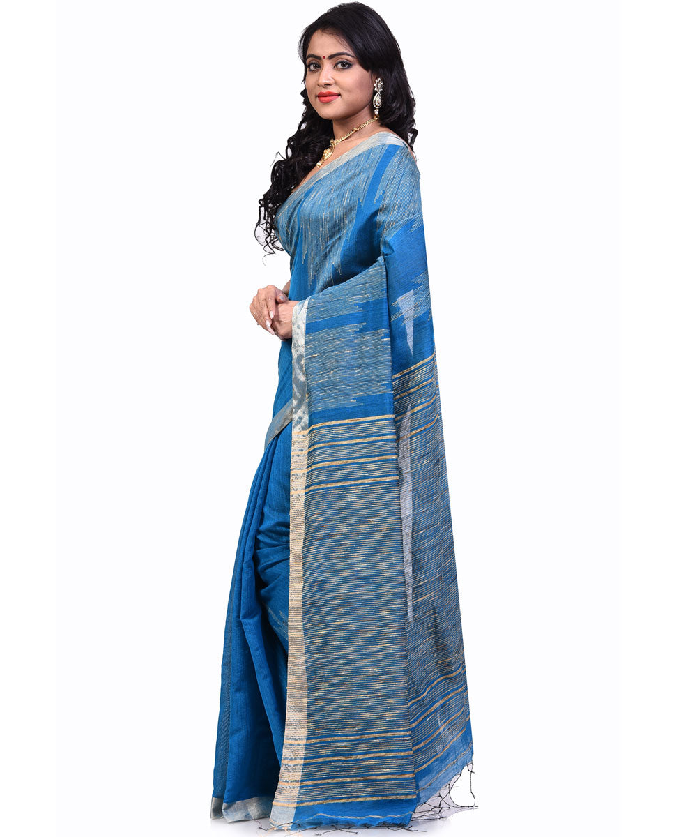 Bengal Handloom Blue and Cream Sico Saree