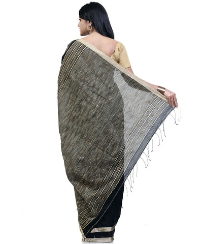 Black Bengal Cotton Handwoven Saree