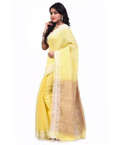 Bengal Handloom Yellow Sico Saree