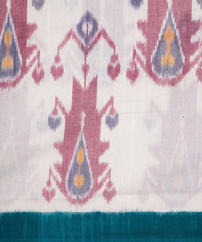 White Green Handwoven Pochampally Ikat Saree