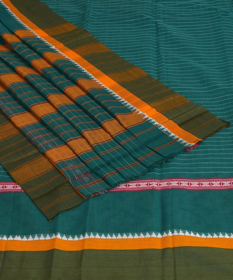 Handloom Narayanpet Cotton Blue Green Saree