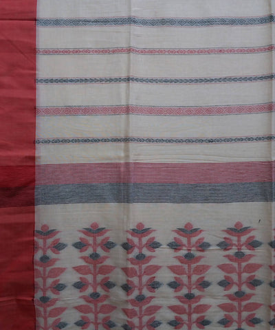 Cream and red handwoven cotton bengal saree