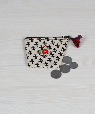Black White Lambani Embroidery Coin Pouch