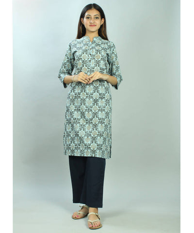 Blue and white jaal handblock printed cotton kurti