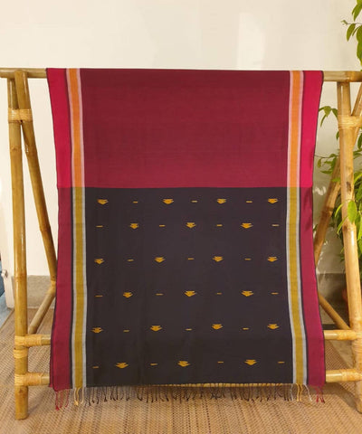 Maroon and black assam handloom cotton saree