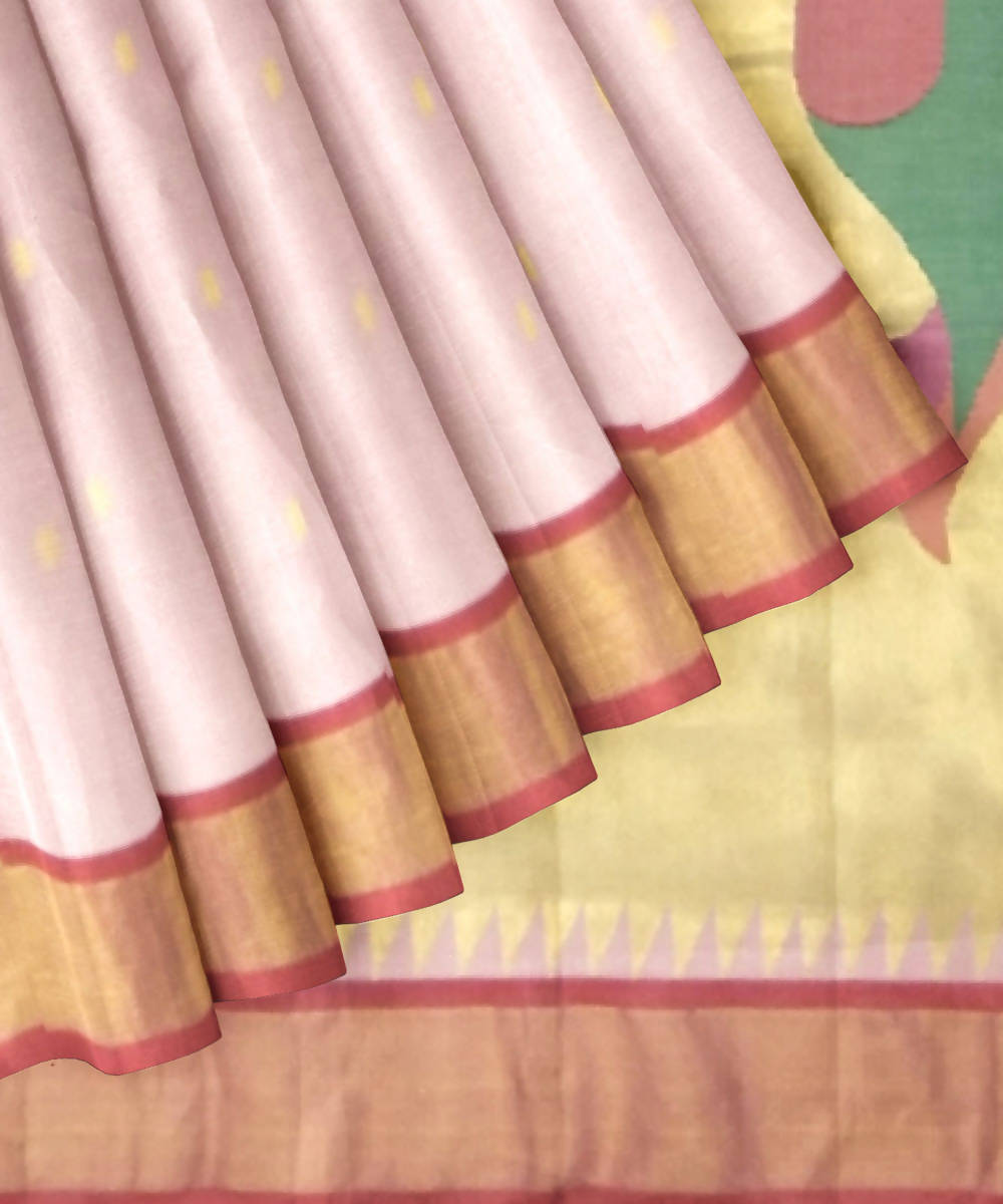 Baby Pink Handloom Paithani Cotton Saree