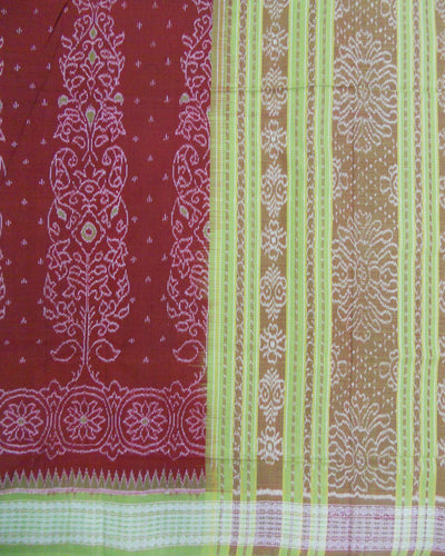 Bargarh Mustard and Green Cotton Saree