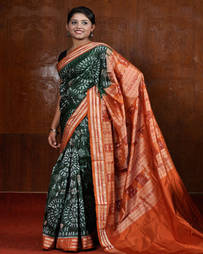Sonepur Green Silk Tribal Saree