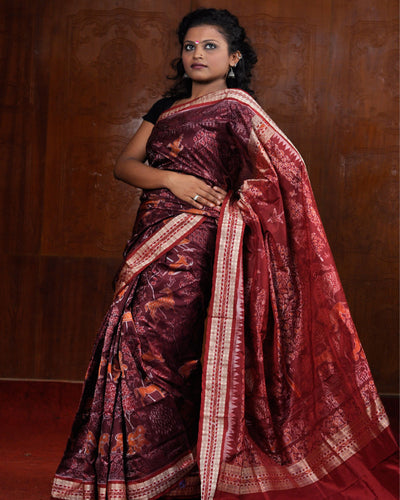 Exclusive Maroon Sambalpuri Traditional Ikat Jungle Design Silk Saree