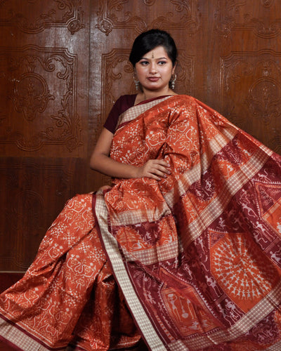 Orange Tribal Silk Saree