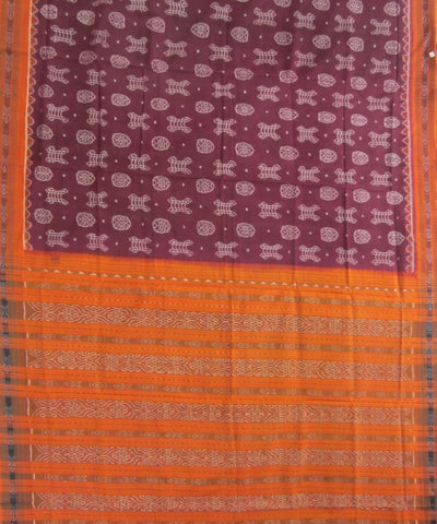Traditional Maroon and Orange Cotton Saree