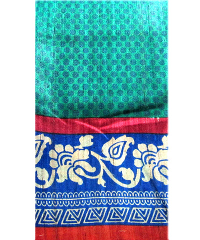 Jajpur Green with Blue and Red Border Tussar sare