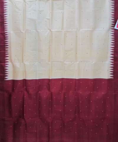 Nuapatna Cream and Maroon Khandua Silk