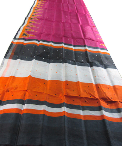 Nuapatna Pink and Orange Khandua Silk
