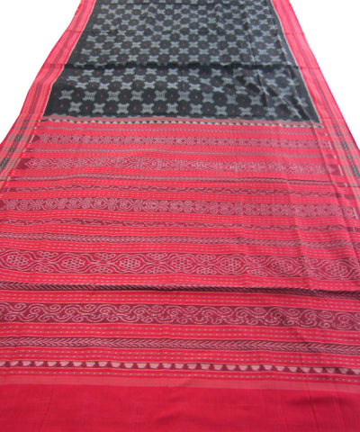 Traditional Black and Red Cotton Saree