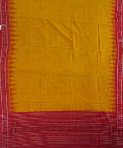 Traditional Yellow and Red Cotton Saree