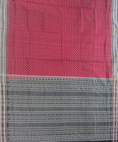 Traditional Maroon and Black Cotton Saree