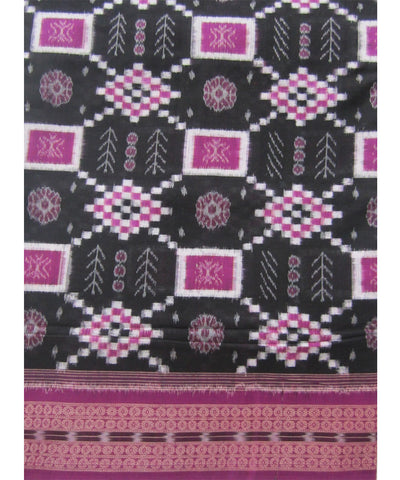 Traditional Black and Purple Cotton Saree