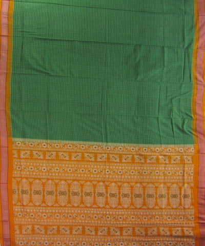 Bargarh Green and Yellow Ikat Cotton Saree