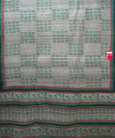 Jajpur Off White and Green Tussar Saree